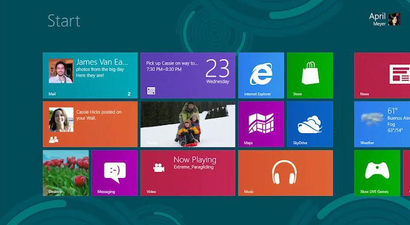 Windows 8 lo screen