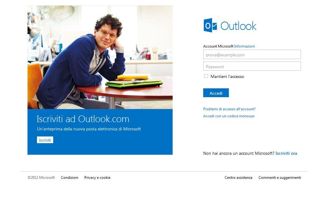 Interfaccia Outlook.com - Cosmos Network - Vendita e assistenza computer